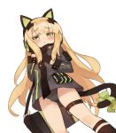 1girl animal_ears black_gloves blonde_hair blush bow cat_ears cat_tail commentary_request eyebrows_visible_through_hair from_below girls_frontline gloves gluteal_fold headphones itsuki_tasuku jacket long_hair looking_at_viewer simple_background solo tail tail_bow thigh_strap tmp_(girls_frontline) very_long_hair white_background yellow_eyes