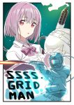 1girl absurdres black_border bob_cut border bow commentary_request copyright_name denkou_choujin_gridman flamethrower green_background helmet highres lavender_hair looking_at_viewer official_art parody purple_bow scarf shinjou_akane short_hair simple_background smoke ssss.gridman weapon