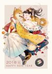 1girl 2018 ^_^ ^o^ animal beige_background bell black_legwear blush brown_hair chinese_zodiac closed_eyes commentary_request cushion dango earrings facing_another flower flower_bracelet food fruit hair_flower hair_ornament hakama happy_new_year high_ponytail japanese_clothes jewelry jingle_bell keychain kimono long_hair long_sleeves mandarin_orange new_year obi open_mouth original outside_border plate pom_pom_(clothes) ponytail sandals sanshoku_dango sash seuga shawl shiba_inu shide simple_background smile solo tabi translated wagashi white_hakama wide_sleeves year_of_the_dog zabuton
