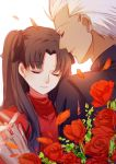 1boy 1girl archer black_shirt closed_eyes couple eyebrows_visible_through_hair fate/stay_night fate_(series) flower parted_lips red_flower red_rose red_shirt rose shirt sketch smile tohsaka_rin twintails upper_body white_background yaoshi_jun