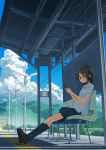 1girl bag black_hair black_legwear blue_eyes cellphone clouds day flower from_below glasses headphones highres iphone kneehighs kusakabe_(kusakabeworks) lamppost landscape no_smoking no_symbol original phone red-framed_eyewear revision scenery school_uniform shade shirt short_hair sitting skirt sky smartphone solo sunflower sunlight tactile_paving train_station