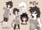 1girl 2015 arm_at_side bare_arms bare_shoulders black_eyes black_hair boots clenched_hand clone close-up dated dragon_ball eyebrows_visible_through_hair face full_body gine grey_background happy looking_at_viewer monochrome serious short_hair simple_background smile solo spread_legs standing tail teeth twitter_username upper_body wristband