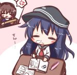2girls =_= akatsuki_(kantai_collection) anchor_symbol anger_vein ashigara_(kantai_collection) black_hat black_sailor_collar black_skirt blush_stickers brown_hair closed_eyes commentary_request desk drooling eraser flat_cap hat holding kantai_collection komakoma_(magicaltale) long_hair long_sleeves multiple_girls nose_bubble parted_lips pencil_case pencil_skirt pleated_skirt purple_hair purple_shirt ruler sailor_collar saliva school_desk school_uniform serafuku shirt skirt solo_focus spoken_anger_vein translated very_long_hair white_shirt