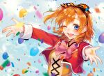 1girl ;d balloon bangs blue_eyes blush bow bowtie clouds confetti cropped_jacket cross-laced_clothes day earrings hair_ribbon highres jacket jewelry kousaka_honoka long_sleeves looking_at_viewer love_live! love_live!_school_idol_project medium_hair one_eye_closed one_side_up open_mouth orange_hair outdoors outstretched_arms pink_neckwear red_jacket ribbon sky smile solo spread_arms striped striped_ribbon sudach_koppe sunny_day_song upper_body