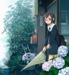 1girl bag brown_hair bucket closed_umbrella doll door flower glasses highres hydrangea kimura-san_(kimura_daisuke) kusakabe_(kusakabeworks) mailbox_(incoming_mail) minigirl original plant rain red-framed_eyewear revision school_bag school_uniform serafuku short_hair skirt snail solo umbrella