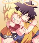 1boy 1girl ;) bare_arms bare_shoulders black_hair blonde_hair blood blood_from_mouth closed_eyes crying dirty dirty_clothes dirty_face dougi dragon_ball dragonball_z gine gradient gradient_background green_eyes halo happy happy_tears hug hug_from_behind looking_at_another lowres mother_and_son one_eye_closed orange_background shaded_face short_hair simple_background smile son_gokuu spiky_hair super_saiyan tears teeth twitter_username upper_body white_background wristband