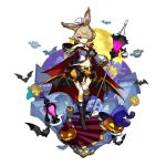 1girl alternate_costume althemia animal_ears artist_request bat boots breasts brown_hair cleavage dragalia_lost garter_straps holding lamp lampion looking_at_viewer non-web_source official_art rabbit_ears red_eyes shorts source_request staff thigh-highs