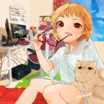 1girl :p alternate_costume alternate_hairstyle artist_name bangs blue_sky blurry blurry_background blush cable casual cat chair clouds commentary_request computer contemporary curtains day feet_out_of_frame flandre_scarlet glasses gotoh510 hand_up headphones highres holding holding_eyewear indoors looking_at_viewer monitor nail_polish no_hat no_headwear pink_nails plug red-framed_eyewear rug shirt short_hair short_sleeves signature sitting sky smile solo sweat swivel_chair table thighs tongue tongue_out touhou white_shirt