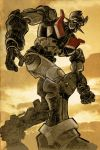 70s clouds highres mazinger_z mazinger_z_(mecha) mecha no_humans oldschool robot science_fiction solo super_robot