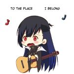 1girl anchor_symbol azur_lane bangs bare_shoulders black_gloves black_hair black_jacket black_shirt blue_hair blush chibi coat commentary cropped_torso earrings english english_commentary gloves gradient_hair guitar half_updo hands_clasped instrument jacket jewelry long_hair long_sleeves lyrics mole mole_under_eye multicolored_hair music musical_note off_shoulder open_mouth own_hands_together shirt simple_background singing sleeveless sleeveless_shirt solo tweetdian upper_body west_virginia_(azur_lane) white_background wide_sleeves
