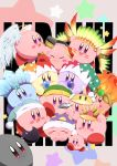 +_+ blush_stickers bomb cap closed_eyes earphones fire glint green_hat halo hat headdress highres ice jester_cap kirby kirby's_dream_land kirby_(series) nightcap nintendo pointing_sword ponto1588 spikes star star_print sword wand weapon wings