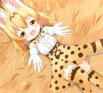1girl animal_ear_fluff animal_ears bangs blonde_hair blush bow bowtie brown_eyes center_frills commentary_request day elbow_gloves eyebrows_visible_through_hair frills gloves hair_between_eyes high-waist_skirt kemono_friends long_hair lying on_back outdoors outstretched_arms print_gloves print_legwear print_neckwear print_skirt serval_(kemono_friends) serval_ears serval_print serval_tail shin01571 shirt skirt sleeveless sleeveless_shirt solo striped_tail tail thigh-highs white_shirt