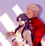 1boy 1girl archer blue_eyes blush brown_hair collarbone couple cup fate/stay_night fate_(series) highres holding holding_cup hug hug_from_behind long_hair neck_ribbon ribbon shirt silver_hair tohsaka_rin upper_body white_shirt yaoshi_jun yellow_ribbon
