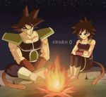 1boy 1girl armor bardock bare_arms bare_shoulders black_eyes black_hair boots campfire dirty dirty_face dragon_ball eyebrows_visible_through_hair fire frown full_body gine legs_crossed looking_away night night_sky outdoors rock scar serious short_hair sitting sky smile star_(sky) starry_sky tail twitter_username wood wristband