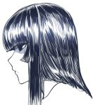1girl bangs black_eyes black_hair blunt_bangs head hime_cut houraisan_kaguya long_hair looking_to_the_side monochrome portrait profile simple_background sketch solo space_jin touhou white_background