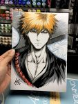 1boy bleach closed_mouth collarbone commentary english_commentary facing_viewer highres japanese_clothes kimono kurosaki_ichigo looking_at_viewer male_focus marker_(medium) neck orange_eyes orange_hair over_shoulder shinigami short_hair signature spiky_hair stanley_lau sword sword_over_shoulder tensa_zangetsu_(bankai) traditional_media weapon weapon_over_shoulder
