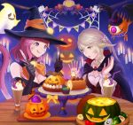 2girls :p ahriman au_ra blonde_hair breasts cat_tail cleavage cupcake detached_collar dragon_horns drinking_straw facial_mark final_fantasy final_fantasy_xiv food ghost halloween hat horns indoors jack-o'-lantern long_hair medium_breasts miqo'te moko_(user_vnsh2874) multiple_girls open_mouth redhead scales short_hair tail tongue tongue_out violet_eyes witch_hat yellow_eyes