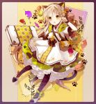 1girl :o animal_ears apple bag bangs blonde_hair bow bracelet briefcase candy cat_ears cat_tail checkerboard_cookie checkered checkered_legwear choker commentary_request cookie dress fake_animal_ears fang fingernails floral_print flower food frilled_dress frills fruit full_body hair_flower hair_ornament hairband highres jewelry leaf long_hair looking_at_viewer macaron multicolored multicolored_nails nail_polish open_mouth original pantyhose paw_pose paw_print ribbon_choker shoes short_sleeves shoulder_bag solo tail very_long_hair yellow_eyes yuzuyomogi