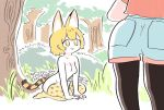 2girls :3 animal_ears black_legwear blonde_hair breasts bush day forest grass gunzan highres kaban_(kemono_friends) kemono_friends looking_at_another multiple_girls nature nude outdoors pantyhose pantyhose_under_shorts print_legwear red_shirt serval_(kemono_friends) serval_ears serval_print serval_tail shirt short_hair shorts sitting small_breasts tail thigh-highs tree white_shorts yellow_eyes