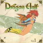 1girl 90s armored_boots boots bracer copyright_name cover dragon_half dragon_horns dragon_tail dragon_wings full_body highres horns knee_boots laserdisc_cover mink_(dragon_half) official_art open_mouth red_eyes redhead solo tail wings