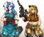 2girls abs adapted_costume animal_ears aqua_dress arm_at_side assault_rifle bare_arms bare_shoulders belt belt_pouch black_gloves blonde_hair blue_hair bodypaint brown_gloves camouflage clenched_hand closed_mouth commentary_request cowboy_shot dress ear_clip expressionless facepaint floppy_ears gloves gun hair_between_eyes hammer hand_print hand_up highres holding holding_gun holding_weapon hood hood_down hood_up hooded_dress hooded_vest knee_pads long_hair looking_afar looking_up low_ponytail medium_dress midriff mouth_hold multiple_girls navel pants pouch rabbit_ears red_eyes rifle ringo_(touhou) ryuuichi_(f_dragon) seiran_(touhou) short_hair short_sleeves shoulder-to-shoulder side_ponytail skewer smile standing stomach submachine_gun toned touhou vest weapon weapon_on_back weapon_request