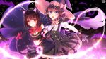 2girls :d :  animal_ears bat black_background black_dress blue_eyes bow breasts brown_hair cape cat_ears cat_tail cleavage closed_mouth copyright_name dress glasses gloves halloween hat hat_bow highres kerberos_blade long_hair looking_at_viewer magic medium_breasts medium_hair multiple_girls official_art open_mouth paw_gloves paws pointy_ears purple_cape red_bow red_eyes short_hair small_breasts smile standing tail tail_bow wand witch_hat yellow_neckwear