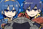 blue_eyes blue_hair cape chibi fire_emblem fire_emblem:_monshou_no_nazo fire_emblem:_souen_no_kiseki fire_emblem_heroes gloves headband highres hoshi_no_kirby ike kirby_(series) looking_at_viewer male_focus marth meta_knight miyabidotto nintendo short_hair super_smash_bros. super_smash_bros_brawl
