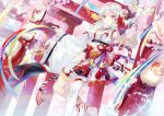 1girl barefoot bell blue_sky cherry_blossoms day ekita_xuan fan highres jingle_bell lantern long_hair looking_at_viewer original outdoors paper_fan paper_lantern ribbon single_thighhigh sky solo thigh-highs torii white_hair white_legwear wide_sleeves yellow_eyes