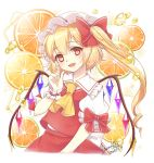 1girl ascot blonde_hair bow commentary_request crystal dated flandre_scarlet food frilled_shirt_collar frills fruit hair_bow hair_twirling haruki_(colorful_macaron) hat mob_cap open_mouth orange orange_juice puffy_short_sleeves puffy_sleeves red_bow red_vest shirt short_sleeves side_ponytail signature solo sparkle touhou upper_body vest white_shirt wings wrist_cuffs yellow_eyes yellow_neckwear