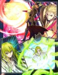 1boy 1other aora blonde_hair blue_eyes boots ea_(fate/stay_night) earrings emphasis_lines enkidu_(fate/strange_fake) fate/strange_fake fate_(series) from_behind furrowed_eyebrows gilgamesh gloves gold_armor green_hair grin hair_slicked_back jewelry long_hair pauldrons red_eyes robe smile standing weapon wide-eyed