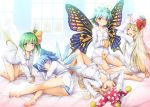 5girls :d ^_^ all_fours antennae arm_up arms_up ass bangs bare_legs barefoot bed_sheet blonde_hair blue_bow blue_eyes blue_hair blue_panties blush bow bow_panties breasts brown_eyes butterfly_wings chima_q cirno closed_eyes closed_eyes clownpiece collarbone commentary_request cup daiyousei eternity_larva eyebrows_visible_through_hair facing_viewer fairy_wings from_behind green_eyes green_hair hair_between_eyes hair_bow hand_up hands_on_headwear hat hat_bow highres holding holding_cup ice ice_wings indoors jester_cap leaf leaf_on_head lily_white long_hair long_sleeves looking_at_viewer looking_back lying mug multiple_girls no_pants on_back on_side open_mouth panties pantyshot pantyshot_(lying) polka_dot_hat red_bow red_eyes red_hat shirt short_hair side_ponytail sitting small_breasts smile striped striped_panties thighs touhou underwear very_long_hair wariza white_hat white_panties white_shirt window wings yellow_bow yellow_panties