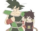1boy 1girl armor bardock bare_arms bare_shoulders black_eyes black_hair clenched_hand dragon_ball eyebrows_visible_through_hair frown gine happy height_difference looking_at_another scar short_hair simple_background smile spiky_hair tail twitter_username upper_body white_background wristband