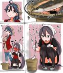 2girls ahoge akebono_(kantai_collection) apron bandaid bandaid_on_face bell black_hair black_legwear comic commentary_request embarrassed fish flower hair_bell hair_bobbles hair_flower hair_ornament headband highres jingle_bell kantai_collection long_hair multiple_girls open_mouth purple_hair saury side_ponytail squatting tama_(seiga46239239) thigh-highs translation_request ushio_(kantai_collection) very_long_hair violet_eyes
