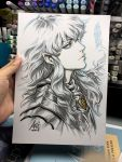 1boy androgynous armor berserk blue_eyes commentary english_commentary griffith highres jewelry lips long_hair looking_at_viewer male_focus marker_(medium) pauldrons pendant pointy_ears profile signature silver_hair solo stanley_lau traditional_media wavy_hair