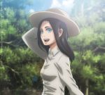 1girl black_hair blue_eyes breasts fake_screenshot frieda_reiss green_background happy hat long_hair long_sleeves medium_breasts official_style open_mouth shingeki_no_kyojin smile solo solo_focus upper_body