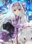 1girl ainu_clothes animal bangs black_legwear blurry blurry_background blush bow commentary_request depth_of_field eyebrows_visible_through_hair fate/grand_order fate_(series) fingerless_gloves fingernails fur-trimmed_boots fur_trim gloves glowing grey_hair hair_between_eyes hair_bow hairband hand_up highres illyasviel_von_einzbern iroha_(shiki) long_hair long_sleeves looking_at_viewer pantyhose parted_lips purple_bow purple_footwear purple_gloves purple_hairband red_eyes sitonai sitting smile snowflakes solo very_long_hair wolf
