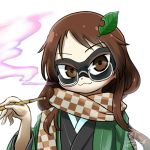 1girl :3 avatar_icon brown_eyes brown_hair chamaji checkered checkered_scarf eyebrows_visible_through_hair futatsuiwa_mamizou futatsuiwa_mamizou_(human) glasses hair_ornament haori holding holding_pipe japanese_clothes kimono kiseru leaf leaf_hair_ornament long_hair looking_at_viewer lowres pince-nez pipe scarf signature smile smoke smoking solo touhou upper_body white_background