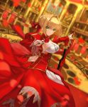 1girl aestus_domus_aurea aestus_estus ahoge ashiwara_yuu bangs blonde_hair blurry blurry_background blurry_foreground blush braid breasts cleavage closed_mouth commentary_request depth_of_field dress epaulettes eyebrows_visible_through_hair fate/extra fate_(series) green_eyes hair_between_eyes hair_bun hair_intakes hair_ribbon juliet_sleeves large_breasts long_sleeves looking_at_viewer looking_to_the_side nero_claudius_(fate) nero_claudius_(fate)_(all) petals puffy_sleeves red_dress red_ribbon ribbon sidelocks smile solo standing