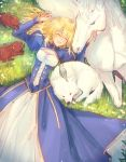 1girl ahoge animal animal_on_head artoria_pendragon_(all) bird bird_on_head blonde_hair blue_sleeves breasts cleavage closed_eyes day dog dress fate/stay_night fate_(series) from_above hair_between_eyes highres horse long_dress long_hair long_sleeves lying nayu_tundora on_back on_head open_mouth outdoors rabbit saber shiny shiny_hair small_breasts smile