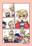 6+girls ahoge artoria_pendragon_(all) artoria_pendragon_(lancer) artoria_pendragon_(swimsuit_archer) artoria_pendragon_(swimsuit_rider_alter) baseball_cap blonde_hair blue_hat braid cape chibi cleavage_cutout comic crown fate/grand_order fate_(series) flying_sweatdrops french_braid golden_kamuy green_eyes hat jacket meme multiple_girls multiple_persona mysterious_heroine_x mysterious_heroine_x_(alter) nabenko ponytail rakko-nabe red_cape saber saber_alter saber_lily silent_comic swimsuit