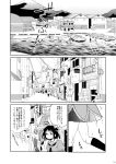 air_conditioner antenna_hair boat comic deco_(geigeki_honey) door highres kantai_collection naka_(kantai_collection) power_lines ship short_hair short_sleeves signpost telephone_pole translation_request water_drop watercraft