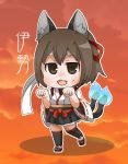 1girl :3 :d animal_ears black_footwear black_legwear black_skirt blush brown_eyes brown_hair cat_ears cat_girl cat_tail character_name chibi clouds cloudy_sky commentary_request fang full_body gurageida hair_ribbon hands_up ise_(kantai_collection) japanese_clothes kantai_collection kemonomimi_mode kimono long_sleeves looking_at_viewer multiple_tails nekomata open_mouth paw_pose pleated_skirt red_ribbon ribbon ribbon-trimmed_sleeves ribbon_trim short_kimono skirt sky smile solo standing standing_on_one_leg tail thigh-highs translated two_tails white_headband white_kimono wide_sleeves zouri