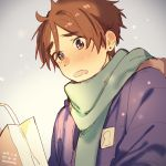 1boy artist_name bag blue_coat blush brown_hair dated green_scarf grey_background male_focus momose_(oqo) ooji_mochizou open_mouth scarf shopping_bag snowing solo tamako_market teardrop upper_body