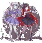 2girls black_dress black_hair black_legwear blue_eyes cape cloak dress earrings gradient_hair grey_eyes high_heels highres hood hooded_cloak iesupa jewelry long_hair multicolored_hair multiple_girls outstretched_arms ponytail red_cape redhead ruby_rose rwby scar scar_across_eye short_hair side_ponytail tiara two-tone_hair weiss_schnee white_hair zombie zombie_pose