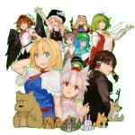 6+girls :d :o ;d alice_margatroid alternate_costume animal_ear_fluff animal_ears apron arm_up ascot bare_shoulders bear belt black_belt black_hat black_skirt black_vest black_wings blonde_hair blue_dress blue_eyes blue_hair blue_shirt bow breasts brown_eyes brown_hair brown_jacket cabbie_hat capelet cigarette commentary_request cookie_(touhou) deer detached_sleeves double_middle_finger dress egg feathered_wings fox frilled_bow frills gap green_eyes green_hair green_hat green_outline grey_dress grey_hair hair_between_eyes hair_bobbles hair_bow hair_intakes hair_ornament hair_tubes hakurei_reimu hand_behind_head hand_up hands_up hat hat_bow holding holding_egg inubashiri_momiji jacket jewelry juliet_sleeves kawashiro_nitori kazami_yuuka kirisame_marisa komeiji_koishi long_hair long_sleeves looking_at_viewer looking_up medium_breasts middle_finger minigirl mob_cap mouse_ears mouth_hold multiple_girls nazrin necktie one_eye_closed open_mouth outline parted_lips pendant petticoat pointy_ears pom_pom_(clothes) puffy_short_sleeves puffy_sleeves rabbit red_bow red_eyes red_neckwear red_sash red_vest ribbon_trim sash shameimaru_aya shirt short_hair short_sleeves sidelocks silver_hair simple_background skirt smile snail snake solidstatesurvivor squirrel tabard tassel tokin_hat touhou two_side_up vest waist_apron white_apron white_background white_bow white_capelet white_hat white_shirt wing_collar wings witch_hat wolf_ears yakumo_yukari yellow_eyes yellow_neckwear