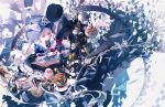 1boy 1girl abstract absurdres beard book bow bowtie cake cheshire_cat closed_eyes club_(shape) cocktail_glass cookie cup diamond_(shape) dress drinking_glass facial_hair food frilled_dress frills grey_hair hair_bow heart highres holding hourglass huge_filesize isekai_goumonhime jam jar knife looking_at_viewer looking_down old_man open_mouth pale_skin pink_hair plate pouring red_eyes saucer smile solo spade_(shape) stuffed_animal stuffed_toy tea teacup ukai_saki unicorn white_hair