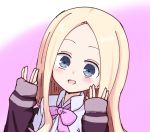 :d abigail_williams_(fate/grand_order) bangs blonde_hair blue_eyes blush bow collared_shirt commentary_request cosplay fate/grand_order fate_(series) forehead gradient gradient_background hands_up jacket kujou_karasuma long_hair long_sleeves looking_at_viewer open_mouth parted_bangs pink_background pink_bow purple_jacket salute shinjou_akane shinjou_akane_(cosplay) shirt sleeves_past_wrists smile ssss.gridman vulcan_salute white_background white_shirt