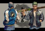 2boys brothers brown_eyes casual denim eyebrows forehead genji_(overwatch) green_hair hand_in_pocket hands_in_pockets hanzo_(overwatch) highres holding holding_weapon jacket jeans letterman_jacket looking_at_viewer low_ponytail male_focus multiple_boys over_shoulder overwatch pants sae_(revirth) sheath sheathed short_ponytail siblings sword sword_over_shoulder weapon weapon_over_shoulder young_genji young_hanzo younger