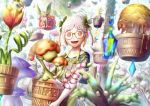 1girl :d absurdres blurry blurry_background carrying fairy fantasy floating floating_object flower flower_box gem glasses greenhouse hair_ornament highres kokorin open_mouth original pale_skin pink_eyes plant potted_plant red_eyes short_hair smile standing third_eye tree white_hair yellow-framed_eyewear