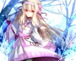 1girl ainu_clothes bangs bare_tree black_legwear blonde_hair bow closed_mouth commentary_request eyebrows_visible_through_hair fate/grand_order fate_(series) fingerless_gloves gloves hair_between_eyes hair_bow hairband hand_up head_tilt highres illyasviel_von_einzbern long_hair long_sleeves pantyhose pekerika pink_bow pink_ribbon purple_gloves red_eyes ribbon sitonai smile solo standing sword tree very_long_hair weapon white_hairband wide_sleeves